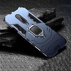 Silikon Hülle Handyhülle und Kunststoff Schutzhülle Tasche mit Fingerring Ständer für OnePlus 7 Pro Blau