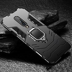Silikon Hülle Handyhülle und Kunststoff Schutzhülle Tasche mit Fingerring Ständer für OnePlus 7 Pro Schwarz