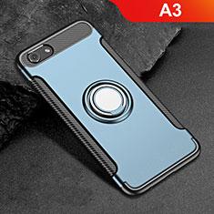 Silikon Hülle Handyhülle und Kunststoff Schutzhülle Tasche mit Fingerring Ständer für Oppo A3 Blau