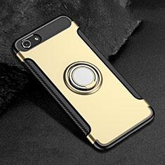 Silikon Hülle Handyhülle und Kunststoff Schutzhülle Tasche mit Fingerring Ständer für Oppo A3 Gold