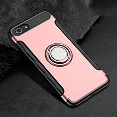 Silikon Hülle Handyhülle und Kunststoff Schutzhülle Tasche mit Fingerring Ständer für Oppo A3 Rosegold