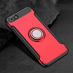 Silikon Hülle Handyhülle und Kunststoff Schutzhülle Tasche mit Fingerring Ständer für Oppo A3 Rot