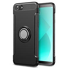 Silikon Hülle Handyhülle und Kunststoff Schutzhülle Tasche mit Fingerring Ständer für Oppo A3 Schwarz