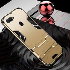 Silikon Hülle Handyhülle und Kunststoff Schutzhülle Tasche mit Fingerring Ständer für Oppo A7 Gold