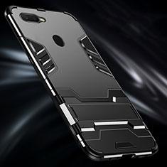 Silikon Hülle Handyhülle und Kunststoff Schutzhülle Tasche mit Fingerring Ständer für Oppo A7 Schwarz