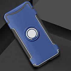 Silikon Hülle Handyhülle und Kunststoff Schutzhülle Tasche mit Fingerring Ständer für Oppo Find X Blau