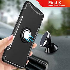 Silikon Hülle Handyhülle und Kunststoff Schutzhülle Tasche mit Fingerring Ständer für Oppo Find X Super Flash Edition Schwarz