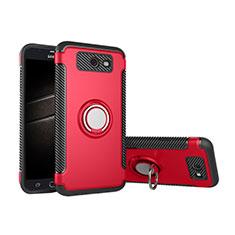Silikon Hülle Handyhülle und Kunststoff Schutzhülle Tasche mit Fingerring Ständer für Samsung Galaxy J5 (2017) Version Americaine Rot