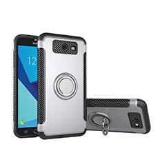Silikon Hülle Handyhülle und Kunststoff Schutzhülle Tasche mit Fingerring Ständer für Samsung Galaxy J5 (2017) Version Americaine Silber