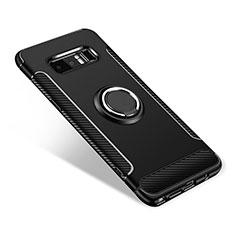 Silikon Hülle Handyhülle und Kunststoff Schutzhülle Tasche mit Fingerring Ständer für Samsung Galaxy Note 8 Duos N950F Schwarz
