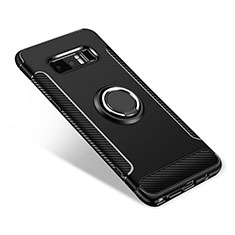 Silikon Hülle Handyhülle und Kunststoff Schutzhülle Tasche mit Fingerring Ständer für Samsung Galaxy Note 8 Schwarz