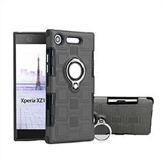 Silikon Hülle Handyhülle und Kunststoff Schutzhülle Tasche mit Fingerring Ständer für Sony Xperia XZ1 Compact Grau