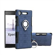 Silikon Hülle Handyhülle und Kunststoff Schutzhülle Tasche mit Fingerring Ständer für Sony Xperia XZ1 Compact Hellblau