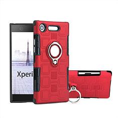 Silikon Hülle Handyhülle und Kunststoff Schutzhülle Tasche mit Fingerring Ständer für Sony Xperia XZ1 Compact Rot