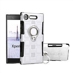 Silikon Hülle Handyhülle und Kunststoff Schutzhülle Tasche mit Fingerring Ständer für Sony Xperia XZ1 Compact Weiß