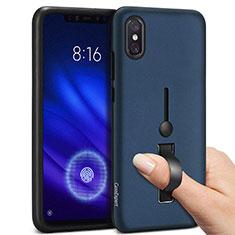 Silikon Hülle Handyhülle und Kunststoff Schutzhülle Tasche mit Fingerring Ständer für Xiaomi Mi 8 Pro Global Version Blau