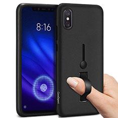 Silikon Hülle Handyhülle und Kunststoff Schutzhülle Tasche mit Fingerring Ständer für Xiaomi Mi 8 Pro Global Version Schwarz