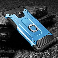 Silikon Hülle Handyhülle und Kunststoff Schutzhülle Tasche mit Fingerring Ständer H01 für Huawei Mate 20 Pro Blau