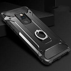 Silikon Hülle Handyhülle und Kunststoff Schutzhülle Tasche mit Fingerring Ständer H01 für Huawei Mate 20 Schwarz