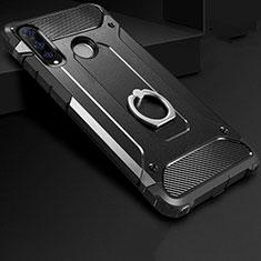 Silikon Hülle Handyhülle und Kunststoff Schutzhülle Tasche mit Fingerring Ständer H01 für Huawei Nova 4e Schwarz