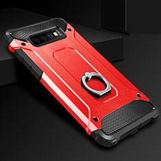 Silikon Hülle Handyhülle und Kunststoff Schutzhülle Tasche mit Fingerring Ständer H01 für Samsung Galaxy S10 Rot