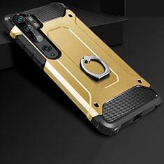 Silikon Hülle Handyhülle und Kunststoff Schutzhülle Tasche mit Fingerring Ständer H01 für Xiaomi Mi Note 10 Gold