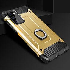 Silikon Hülle Handyhülle und Kunststoff Schutzhülle Tasche mit Fingerring Ständer N01 für Samsung Galaxy Note 20 5G Gold