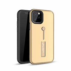 Silikon Hülle Handyhülle und Kunststoff Schutzhülle Tasche mit Fingerring Ständer S01 für Apple iPhone 11 Pro Max Gold