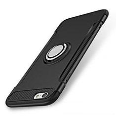 Silikon Hülle Handyhülle und Kunststoff Schutzhülle Tasche mit Fingerring Ständer S01 für Apple iPhone 7 Schwarz