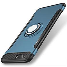 Silikon Hülle Handyhülle und Kunststoff Schutzhülle Tasche mit Fingerring Ständer S01 für Apple iPhone 8 Plus Blau
