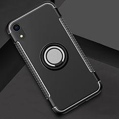 Silikon Hülle Handyhülle und Kunststoff Schutzhülle Tasche mit Fingerring Ständer S01 für Apple iPhone XR Schwarz
