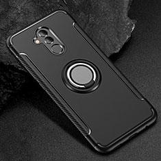 Silikon Hülle Handyhülle und Kunststoff Schutzhülle Tasche mit Fingerring Ständer S01 für Huawei Mate 20 Lite Schwarz