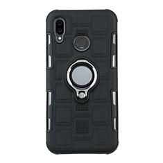 Silikon Hülle Handyhülle und Kunststoff Schutzhülle Tasche mit Fingerring Ständer S01 für Huawei P20 Lite Schwarz