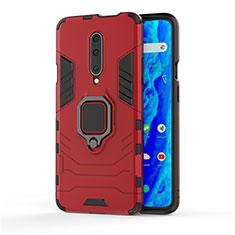 Silikon Hülle Handyhülle und Kunststoff Schutzhülle Tasche mit Fingerring Ständer S01 für OnePlus 7 Pro Rot