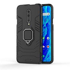 Silikon Hülle Handyhülle und Kunststoff Schutzhülle Tasche mit Fingerring Ständer S01 für OnePlus 7 Pro Schwarz