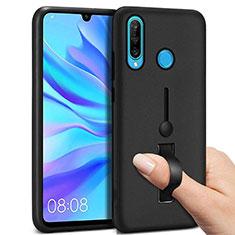 Silikon Hülle Handyhülle und Kunststoff Schutzhülle Tasche mit Fingerring Ständer S04 für Huawei P30 Lite Schwarz