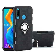Silikon Hülle Handyhülle und Kunststoff Schutzhülle Tasche mit Magnetisch Fingerring Ständer A01 für Huawei Nova 4e Schwarz