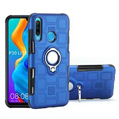 Silikon Hülle Handyhülle und Kunststoff Schutzhülle Tasche mit Magnetisch Fingerring Ständer A01 für Huawei P30 Lite Hellblau