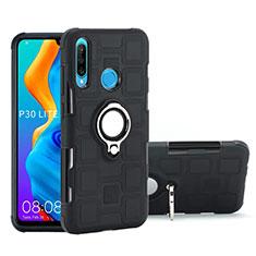 Silikon Hülle Handyhülle und Kunststoff Schutzhülle Tasche mit Magnetisch Fingerring Ständer A01 für Huawei P30 Lite Schwarz