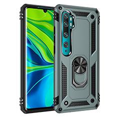 Silikon Hülle Handyhülle und Kunststoff Schutzhülle Tasche mit Magnetisch Fingerring Ständer D01 für Xiaomi Mi Note 10 Pro Grün