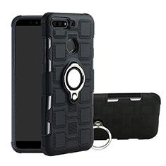 Silikon Hülle Handyhülle und Kunststoff Schutzhülle Tasche mit Magnetisch Fingerring Ständer für Huawei Enjoy 8e Schwarz