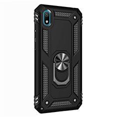 Silikon Hülle Handyhülle und Kunststoff Schutzhülle Tasche mit Magnetisch Fingerring Ständer für Huawei Enjoy 8S Schwarz