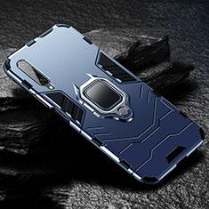 Silikon Hülle Handyhülle und Kunststoff Schutzhülle Tasche mit Magnetisch Fingerring Ständer für Huawei Honor 9X Pro Blau