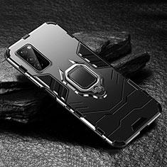 Silikon Hülle Handyhülle und Kunststoff Schutzhülle Tasche mit Magnetisch Fingerring Ständer für Huawei Honor View 30 5G Schwarz