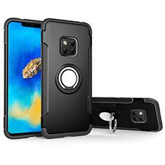 Silikon Hülle Handyhülle und Kunststoff Schutzhülle Tasche mit Magnetisch Fingerring Ständer für Huawei Mate 20 Pro Schwarz