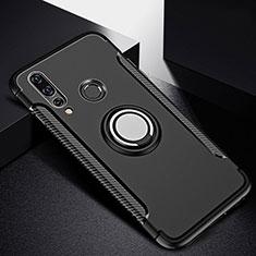 Silikon Hülle Handyhülle und Kunststoff Schutzhülle Tasche mit Magnetisch Fingerring Ständer für Huawei Nova 4e Schwarz