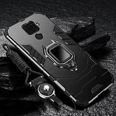 Silikon Hülle Handyhülle und Kunststoff Schutzhülle Tasche mit Magnetisch Fingerring Ständer für Huawei Nova 5i Pro Schwarz