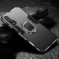Silikon Hülle Handyhülle und Kunststoff Schutzhülle Tasche mit Magnetisch Fingerring Ständer für Huawei Nova 6 5G Schwarz