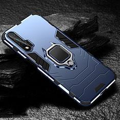 Silikon Hülle Handyhülle und Kunststoff Schutzhülle Tasche mit Magnetisch Fingerring Ständer für Huawei Nova 6 Blau