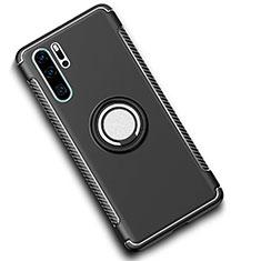 Silikon Hülle Handyhülle und Kunststoff Schutzhülle Tasche mit Magnetisch Fingerring Ständer für Huawei P30 Pro Schwarz